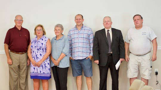 The candidates for the 2019 Ocean Pines Association Board of Directors elections are, from left, Larry Perrone, Camilla Rogers, Paula Gray, Shawn Kotwica, Edward Solum and Gregory Turner. Not pictured:  Tom Janasek.