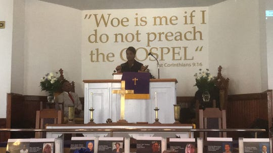 Charlene Gray, Northampton County Commissioner of Revenue, speaks during a service held in Capeville, Virginia on Thursday, June 6, 2019 to respond to the fatal shooting of 12 people in a Virginia Beach municipal building on May 31.