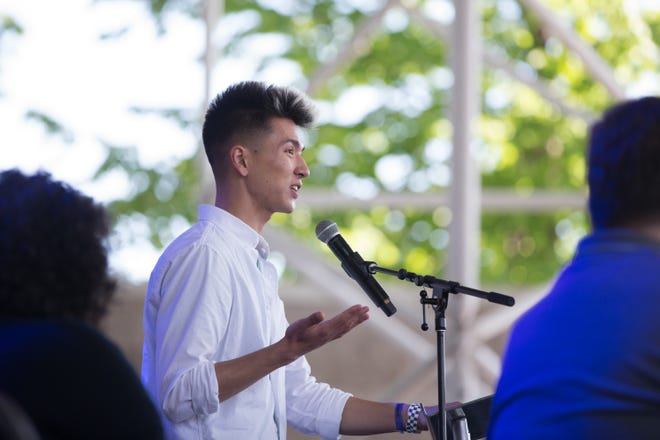 Nat Werth speaks during the opening ceremonies for Pridefest in Milwaukee, Wisconsin, on Friday, June 7, 2019.  Hannah Schroeder/Milwaukee Journal Sentinel