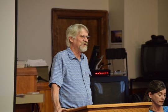 Ed McEowan, who lives in southeastern Cedar County, talks about issues he had living next to a controlled agricultural feeding operations, or CAFO, in a Cedar County courtroom on Wednesday, June 5, 2019. Missouri lawmakers recently passed a bill barring local governments from imposing regulations on the operations beyond what the state has in place.