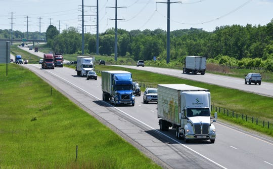 Traffic moves along Interstate 94 Wednesday, June 5, near St. Cloud.