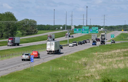Traffic moves along Interstate 94 near the Minnesota Highway 15 intersection Wednesday, June 5, near St. Cloud.