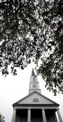 The clock in the steeple of First Presbyterian Church, the oldest non-governmental building in Tallahassee.