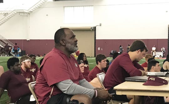 FSU associate head coach/defensive line coach Odell Haggins discusses his observations during a film session with the players at the Big Man Camp on Friday, June 7, 2019.