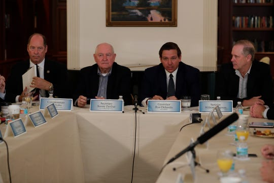 Gov. Ron DeSantis welcomes U.S. Secretary of Agriculture Sonny Perdue to the Governor's Mansion for a roundtable discussion on the United States-Mexico-Canada Trade Agreement (USMCA) and disaster aid Friday, June 7, 2019.