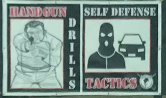 Sign advertising handgun drills and self defense tactics at the St. Lucie Golf Range.