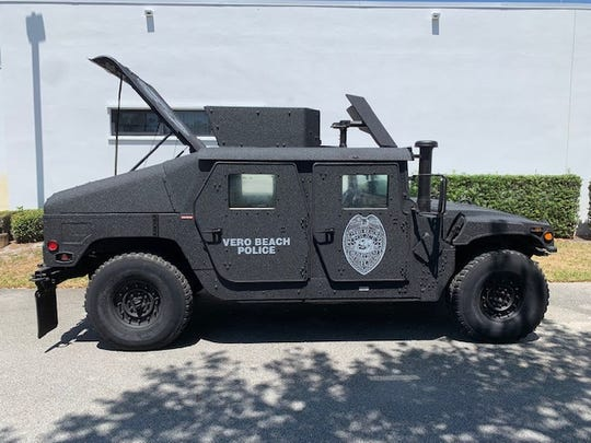 The Vero Beach Police Department purchased a military Humvee for $1,000 through the U.S. Department of Defense surplus program.