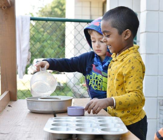Children play outside at Disciples Child Development Center.