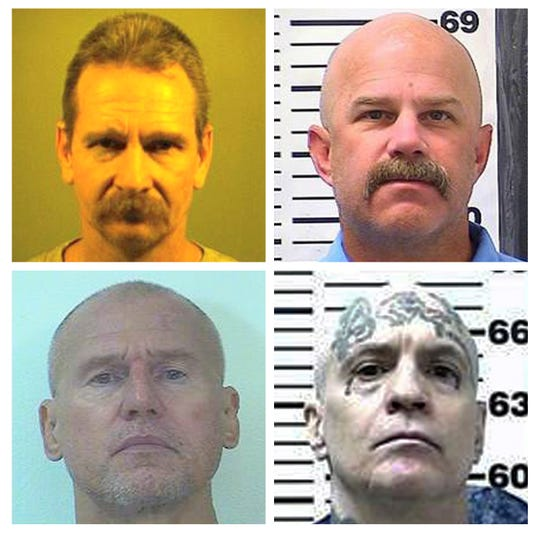 This combination of photos provided by the California Department of Corrections and Rehabilitation shows, top row, Kevin McNamara left, and William Sylvester; and bottom row, Daniel Troxell, left, and Ronald Yandell. The four are among the 16 Aryan Brotherhood prison gang members who were charged Thursday, June 6, 2019, with killings and drug smuggling from within California's most secure prisons, U.S. prosecutors said.