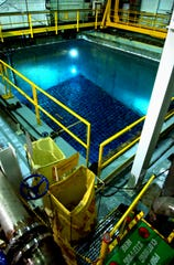 A spent fuel pool at the Indian Point nuclear plant in Buchanan, N.Y. shows uranium rods submerged in 23 feet of water. The stored rods came out of the nuclear reactor.