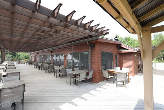 The spacious outdoor seating area outside the tasting room at the Robibero Family Vineyards in New Paltz, June 7, 2019.