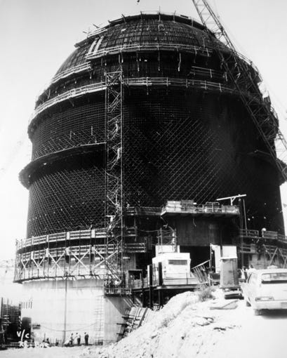"""Photograph of the Indian Point Unit 3 containment building with the installation of 8 rows of 2"""" thick steel rebar beforecement pour during construction in the early 1970's at the Indian Point nuclear power plant in Buchanan."""