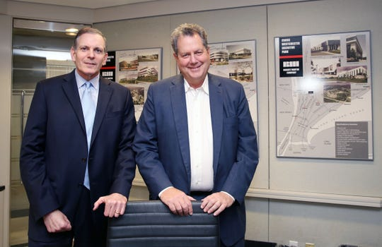 From left, Managing Director Greg Berger and CEO Tim Jones, speak about how the Robert Martin Company recently bought back a portfolio of industrial parks it developed in Westchester County between the 1970s and 1990s, while speaking at their company headquarters in Elmsford June 5,  2019.