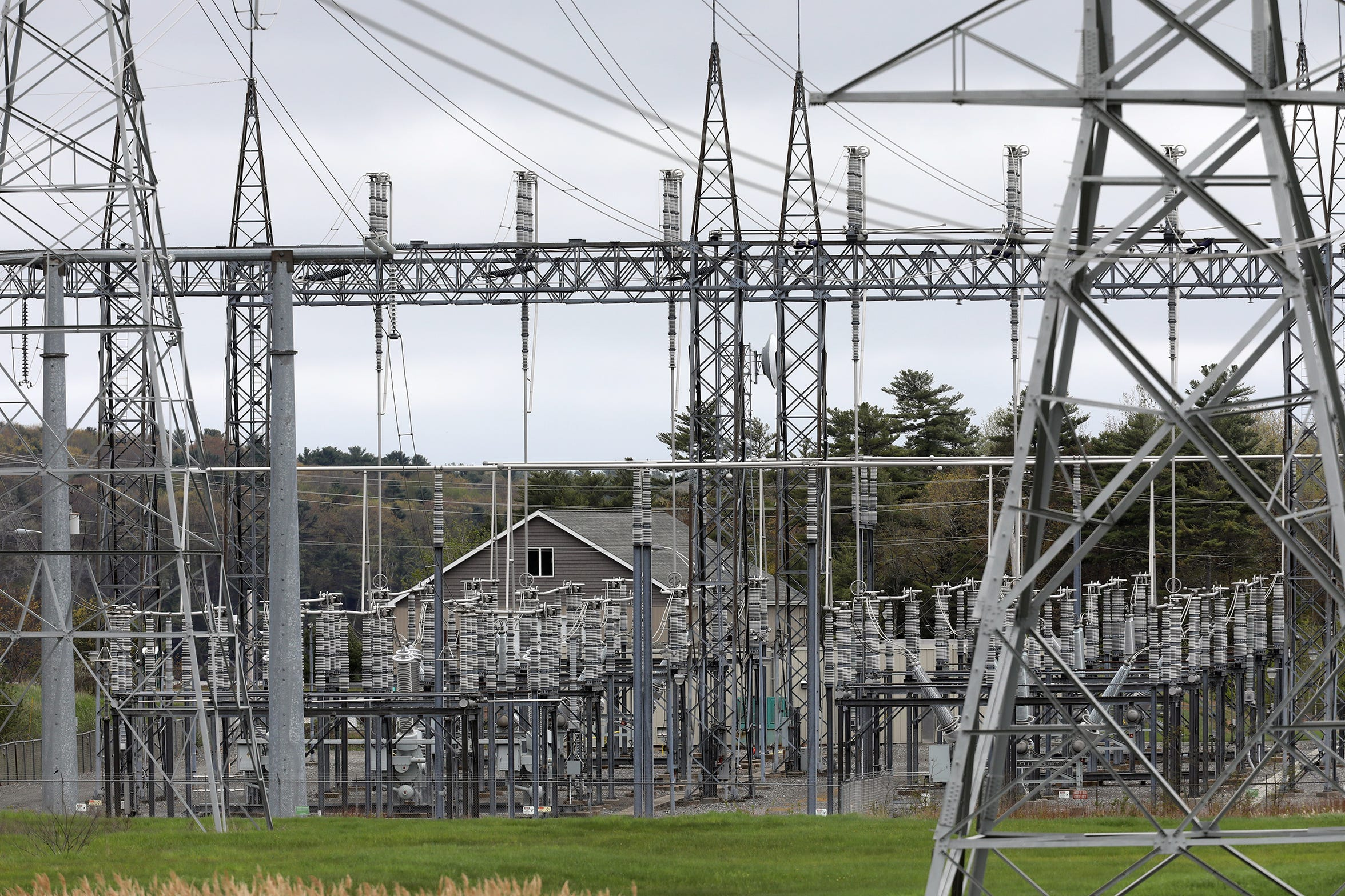 Transmission lines on the Maine Yankee property in Wiscasset, Maine, photographed on Friday, May 24, 2019.