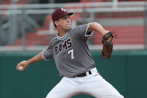Fordham's Eric Yost pitching against Stepinac in the CHSAA Class AA City Championship at St. John's University in Queens June 6,  2019. Fordham won the game 4-0.