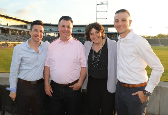 Sports reporters from left, Vincent Z. Mercogliano, Mike Dougherty, Nancy Haggerty and Mike Zacchio, during The Journal News Rockland Scholar-Athlete Awards dinner at the Palisades Credit Union Park in Pomona, June 6, 2019.
