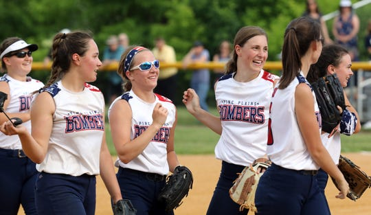 The Pine Plains softball team celebrates after its regional final win over Haldane on Thursday.