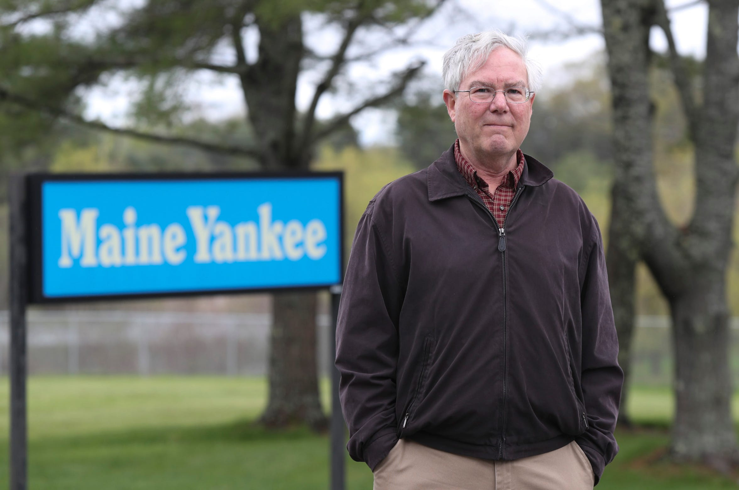Eric Howes, director of public affairs for  Maine Yankee, photographed outside the  Maine Yankee property in Wiscasset, Maine on Friday, May 24, 2019.