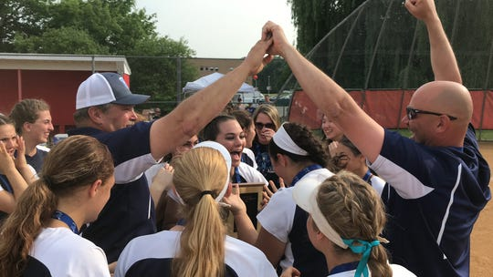 John Jay-East Fishkill coaches Ken Schaeffer (left) and Mike Crocco (right) celebrate after winning the Section 1 Class AA title on June 1, 2019.