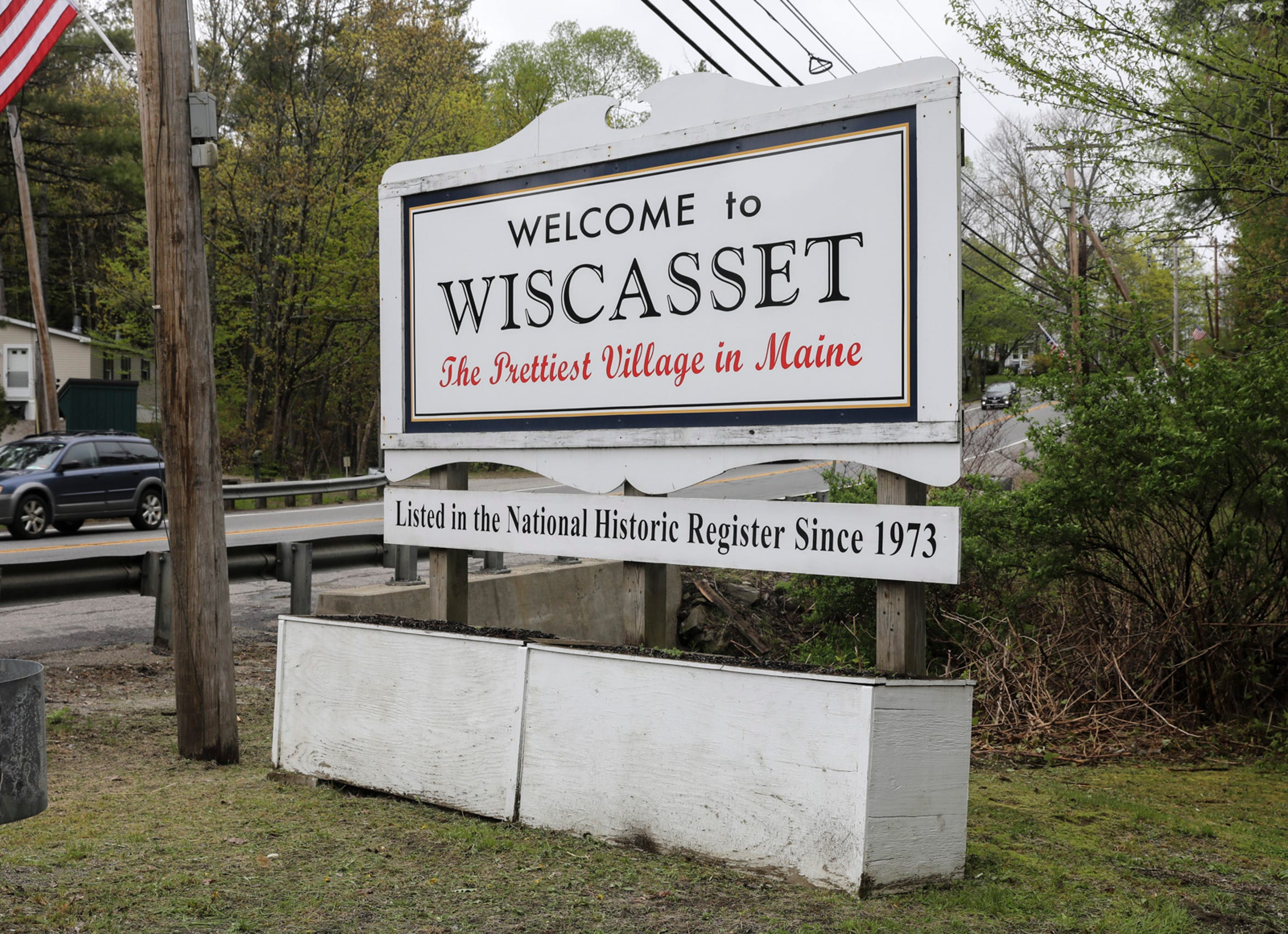 A sign on the edge of town welcomes you to  Wiscasset, Maine.  Friday, May 24, 2019.