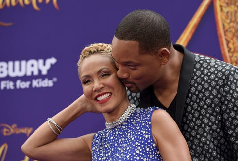 "Jada Pinkett Smith and Will Smith at the premiere of ""Aladdin"" on May 21, 2019 in Los Angeles."