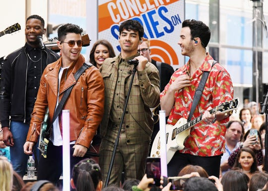 "The Jonas Brothers Perfom On NBC's ""Today"" at Rockefeller Plaza on June 07, 2019 in New York City."