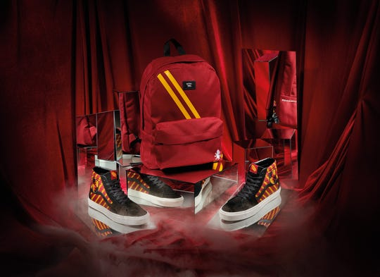 The collection includes four exclusive colorways for each house from Hogwarts School of Witchcraft and Wizardry, including this Sk8-Hi and matching backpack for Gryffindor.