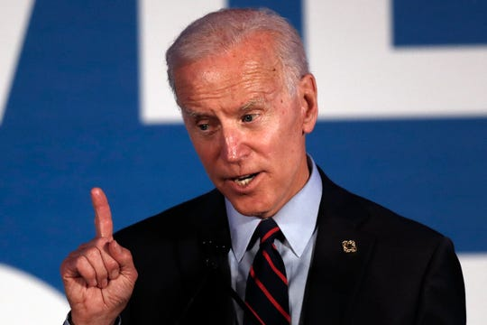 Former vice president and 2020 presidential candidate Joe Biden speaks during a Democratic fundraising gala on Thursday night in Atlanta.