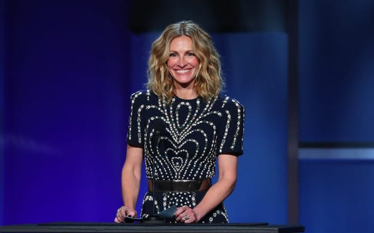 Julia Roberts speaks on stage during the 47th American Film Institute (AFI) Life Achievement Award Gala at the Dolby Theatre in Hollywood on June 6, 2019.