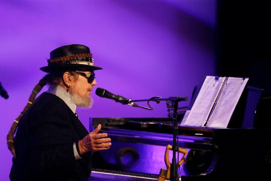 Dr. John performs during a funeral tribute to Allen Toussaint in New Orleans on Nov. 20, 2015.