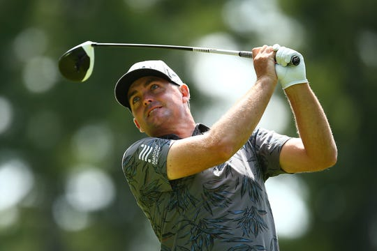 Keegan Bradley plays his shot from the 14th tee during the first round of the RBC Canadian Open.