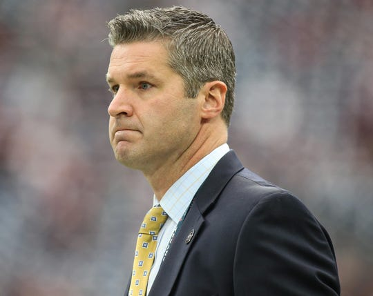 Houston Texans general manager Brian Gaine looks on before a game against the Cleveland Browns in 2018.