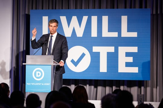 2020 presidential candidate Beto O'Rourke speaks on Thursday night during a Democratic National Committee fundraising event in Atlanta.