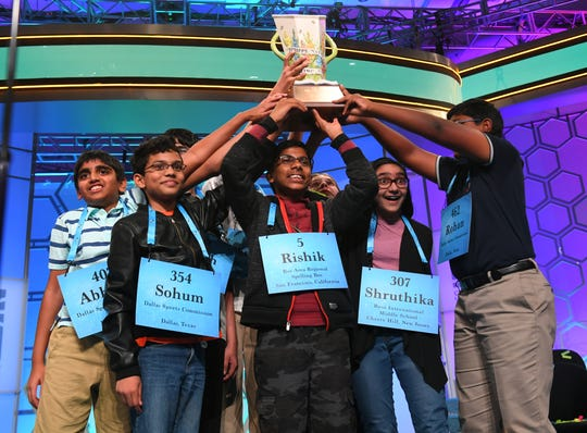 Rishik Gandhasri, Erin Howard, Saketh Sundar, Shruthika Padhy, Sohum Sukhatankar, Abhijay Kodali, Christopher Serrao and Rohan Raja are all announced as winners  during the 2019 Scripps National Spelling Bee at Gaylord National Resort and Convention Center in National Harbor, MD, on May 31, 2019.