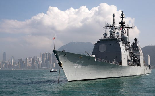 The guided-missile cruiser USS Chancellorsville (CG-62) is moored in Victoria Harbour, Hong Kong, China on Nov. 21, 2018. Russian Navy Udaloy-class destroyer Admiral Vinogradov and US Navy guided-missile cruiser USS Chancellorsville (CG-62) almost collided on  June 7, 2019, while operating in the Philippine Sea, Russia and the US stated. The two navies have accused each other for nearly causing an accident, forcing both to perform a dangerous maneuver, media reported.