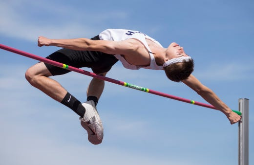 """NJSIAA Track and Field Meet of Champions takes place at Northern Burlington High School. Mark Anselmi, Middletown South wins the boys high jump clearing 6'8"""".Columbus, NJSaturday, June 08, 2019"""