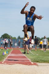 Carteret's Stephon Kelley-Gordon wins the long jump at Saturday's NJSIAA Meet of Champions.
