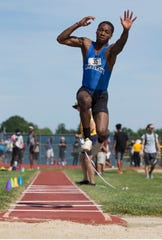 NJSIAA Track and Field Meet of Champions takes place at Northern Burlington High School. Stephon Kelley-Gordon, Carteret competes in the triple jump.