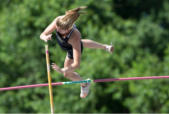 NJSIAA Track and Field Meet of Champions takes place at Northern Burlington High School.  Riley Larsen of Point Boro wins the pole vault event. 