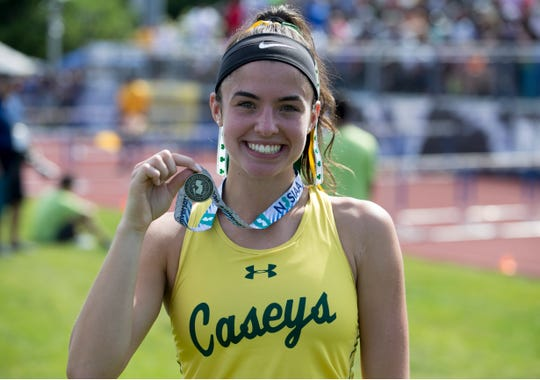NJSIAA Track and Field Meet of Champions takes place at Northern Burlington High School. Tara Zeni, Red Bank Catholic, winner of the girls long jump.