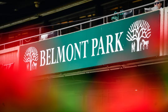 Jun 7, 2019; Elmont, NY, USA; A general view of the park at Belmont Park. Mandatory Credit: Catalina Fragoso-USA TODAY Sports