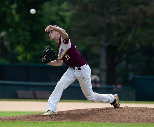 Glassboro's Justin Tongue pitches during an 8-5 loss to Emerson Boro in the Group 1 final on Saturday at Veterans Park in Hamilton.