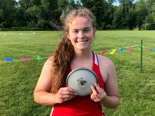 Wall's Abby Nonnenberg after she capped an unbeaten season by winning the girls discus at the Meet of Champions.