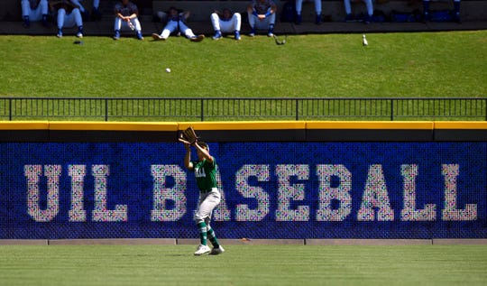 Wall left fielder Kye Herbert catches a fly ball during Saturday's UIL Class 3A state championship game against Blanco in Round Rock June 8, 2019. Wall won the state title, 2-1.