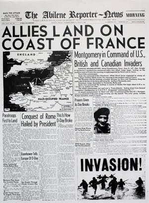 The front page of the Abilene Reporter-News the morning of June 6, 1944.