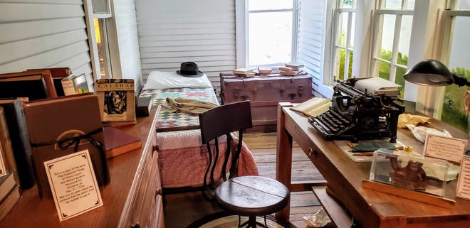 The small room where Robert E. Howard wrote his pulp fiction tales in the late 1920s and early 1930s. Care has been taken to replicate the room much as Howard would have had it, including the same sort of typewriter he used, an Underwood No. 5.