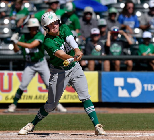 Wall batter Colton Diebitsch connects during Saturday's UIL Class 3A state championship game against Blanco in Round Rock June 8, 2019. Wall won the state title, 2-1.
