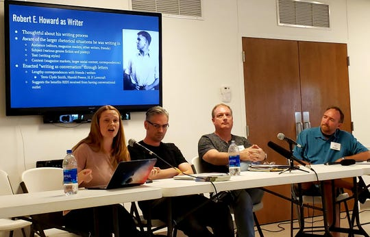 Nicole Emmelhainz-Carney talks about Robert E. Howard's legacy and process as a writer in a mini-symposium at the yearly Howard Days celebration in Cross Plains Friday. Also pictured are (from left to right) are Jason Ray Carney, Ralph Norris, and Jeffrey H. Shanks.