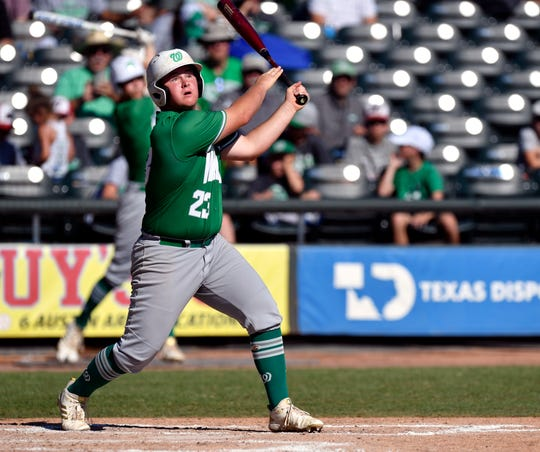 Wall batter Gage Weishuhn tracks the flight of his hit during Saturday's UIL Class 3A state championship game against Blanco in Round Rock June 8, 2019. Wall won the state title, 2-1.