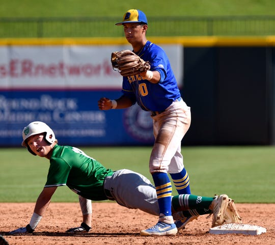 Wall baserunner Ryan Gully looks up with surprise after second base umpire Tommy Cliffe calls him out thanks to Blanco second baseman Eddie Calzoncit Saturday June 8, 2019. Wall won the UIL Class 3A state championship game in Round Rock, final score was 2-1.